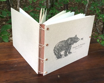 Woodland Wedding Rustic Guest Book or Photo Album for your forest wedding - Bear & Bee or Other Animals of your choice -