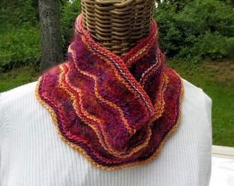 Cowl, handspun wool and mohair cowl knitted in my own design, OOAK