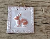 Terra Cotta Bunny Tile in White