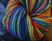 Rainbow Flag Self Striping Superwash Merino Sock Yarn -- Slightly Flawed, Discounted 10%
