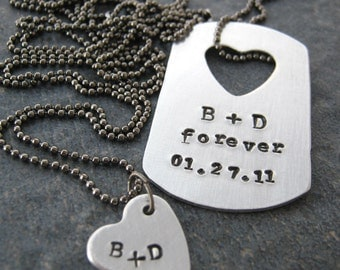 Personalized His and Hers Necklace Set, Anniversary gift, Matching Necklaces, Hers and His, customize these, read listing for specs