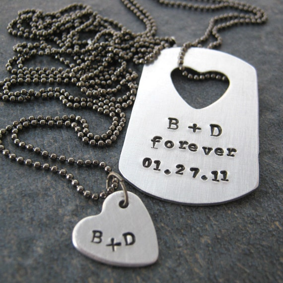 personalized his and hers necklace set aluminum tag