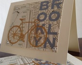 Brooklyn Map and Bike - 50-Pack Screen-Printed Greeting Cards