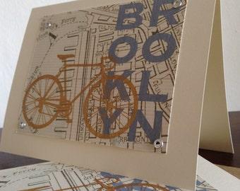 Brooklyn Map and Bike - 50-Pack Screen-Printed Greeting Cards