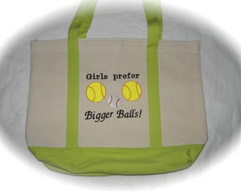 Tote Bag Bigger Balls Softball Canvas Tote EMBROIDERED Fastpitch