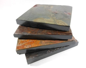 Slate Stone Coasters: HAPPY ACCIDENT SET - 4 Assorted Colors with Black Edges & Varnished to Enhance Natural Colors