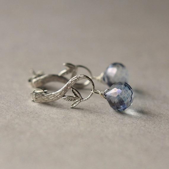 Blue Quartz Earrings, Mystic Quartz Earrings, Faceted Gemstone Briolette Earrings, Nature Woodland Jewelry, Small Dangle Earrings