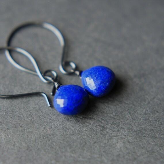 Blue Lapis Earrings, Faceted Lapis Briolette Earrings, Lapis Lazuli Sterling Silver Earrings, Under 50
