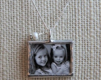 Custom Photo necklace, Picture Necklace, Soldered Glass Photo Charm, Personalized Photo Necklace, Grandma Necklace, New Mom Gift