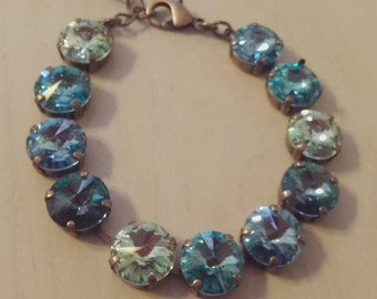 Aqua, Turquoise and Chrysolite Swarovski Crystal Tennis Bracelet in an Antique Copper Setting