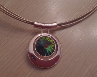 Bronze leather necklace with Vitrail Medium Swarovski Crystal in a round copper pendant