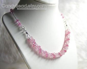 Swarovski Crystal Necklace, Sweet Rosaline Pink Twisty Swarovski Crystal Necklace by CandyBead
