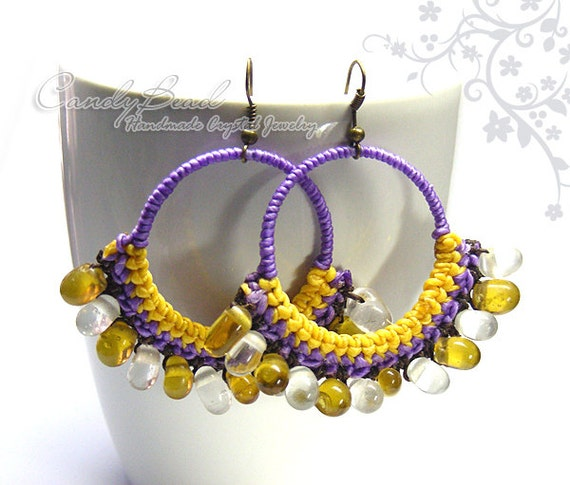 Hippie Boho Hoop Earrings, Purple and Yellow Waxed Cord and Glass Beads Earrings