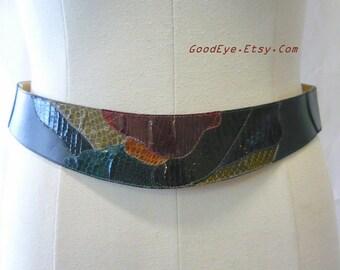 Vintage Wide Snakeskin Cinch Belt Patchwork COLOR size M  Reptile Drop Waist Leather Contour 30 to 34 inch