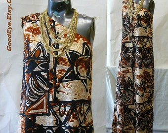 Vintage One Shoulder TRIBAL Maxi Dress small size 4 6 8  1960s Brown Black Print Hawaiian BARK CLOTH