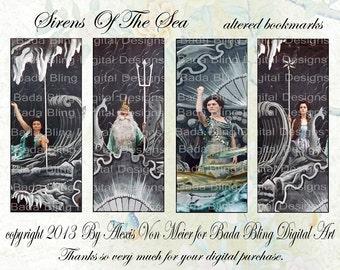 Sirens of the Sea...mermaid bookmarks,  mermaid digital collage sheets,   INSTANT  Digital Download at Checkout, mermaids, vintage mermaids