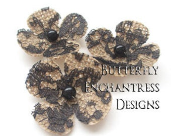 Lace Wedding, Bridal Hair Accessories, Gothic Hair Flowers - 3 Natural Burlap Black Lace Lila Hydrangea Flower Bobby Pins - Pearl Centers