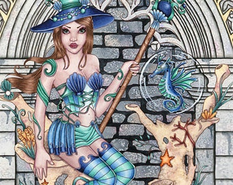 Witch Print - Fantasy Art - 5x7 - Water Witch and Seahorse - Alondra and Medwin - by Nikki Burnette