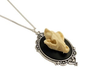Wolf skull gothic necklace Cameo taxidermy goth steampunk pendant