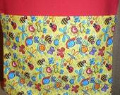 24 CHAIR POCKETS Durable Cotton  Happy Bug  print with multi colored  backers your choice