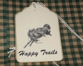 8 Happy Trails Gift Tags with bucking bronco