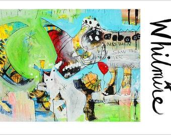 Boy With Balloon - Mixed Media Art Print