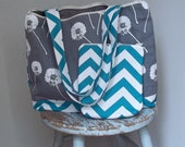 Teal Chevron Knitting Project Bag - Dandelions - Tote and Zipper Pouch SET - Grey Teal - 6 Pockets - Cotton Twill Lining
