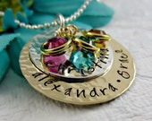 Personalized Mother's Necklace - Layered Mom Necklace - Kids Name Necklace - Birthstone Jewelry - Hand Stamped Silver and Gold Jewelry