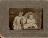 vintage photo Small Cabinet 2 beautiful babies Wicker Chair