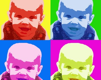 Custom Pop Art -One Photo in Andy Warhol Style Personalized for Gift or Home, Birthday, Wedding, Popart DIGITAL SELF-PRINTING