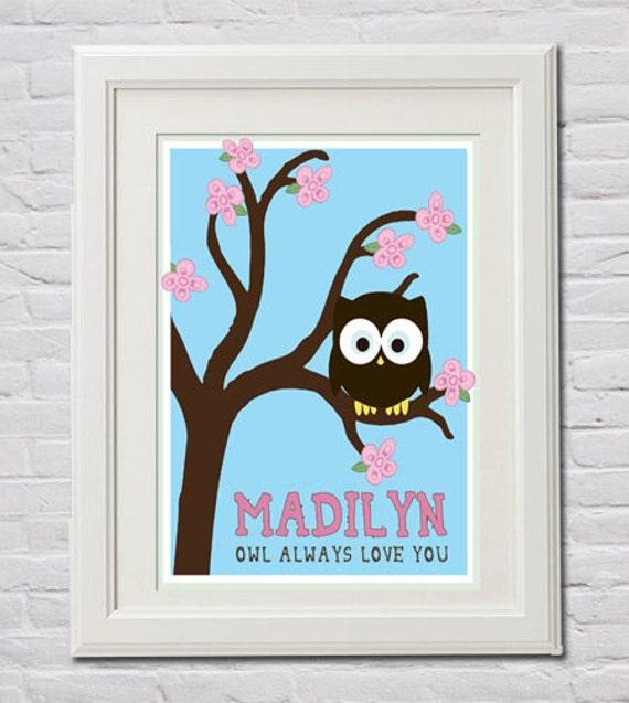 Custom Nursery Owl Wall Art, Personalized with Child's Name - PDF Digital File in 4 Sizes (4x6, 5x7, 8x10, 11x14) Handmade Crochet Blanket