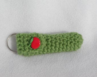 Lip Balm Holder, Chap Stick Holder, Key Chain, Lip Balm Cozy, Chapstick Cozy, Crochet - Green Apple