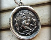 Griffin Crest Wax Seal Pendant  Necklace - denotes Courage, Perseverance and Watchfulness - Wax Seal Jewelry - E2141