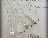 Adjustable Necklace Option - 2 inch Chain Extender in sterling silver with Gemstone drop