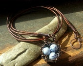Rustic Robins Nest necklace Bird nest necklace Copper nest necklace blue speckled  bird eggs Mother's Day mother grandmother
