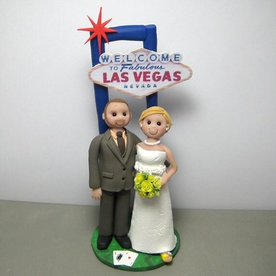 DEPOSIT for Custom made Vegas Themed Polymer Clay Wedding Cake Topper
