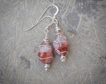 Red Phantom Quartz, Thai and Sterling Silver Earrings