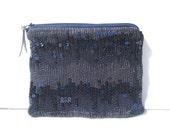 Navy Sequin Clutch - Small Handbag - Handmade