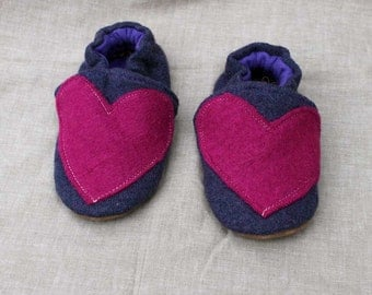 Heart Wool Kids Slippers Leather Bottom fits 18-24  months old made from recycled materials