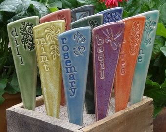 6 Herb Plant Markers - Herb Garden Markers - A set of 6 pottery garden stakes - ready to ship