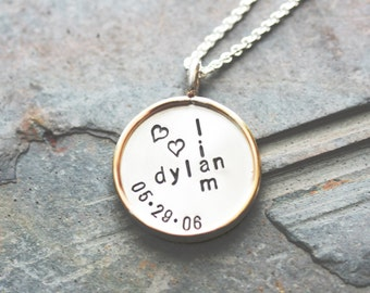 Large Two-Tone Double-Sided Custom Pendant with Rim and Necklace - Stamping on BOTH Sides - Graffiti Style and Monogram