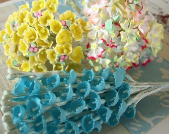Vintage / Millinery Floral Sampler / Fabric Flowers / Tipped Hydrangea / 1950s Blue Lily of the Valley & Forget Me Nots