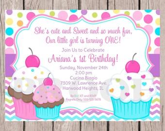 PRINTABLE Cupcake Birthday Party Invitation / Girls Invitation with Cupcakes, Chevron and Polka Dots / Any Age / You Print