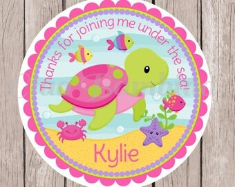 Under the Sea Birthday Party Favor Tags or Stickers / Sea Turtle, Crab, Fish / 0022 / Set of 12