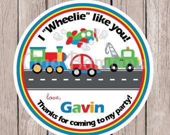Car, Truck, Train and Airplane Birthday Party Favor Tags or Stickers / I Wheelie Like You / On the Move / Transportation / Set of 12