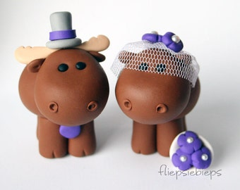 Custom Moose Wedding Cake Topper
