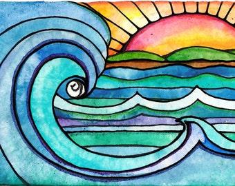 Surf print sunrise print