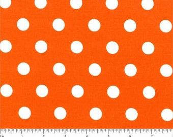 ORANGE DOTS YARDAGE Fabric by the yard, orange tangerine with white polka dots,  print, cotton