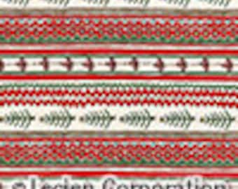 SALE _ Snowflake - Holiday Stripe - By Lecien - 6.95 per yard