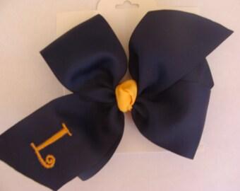 HUGE Uniform Mongrammed Initial Hair Bow
